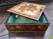 Sale 8485 - Lot 1040 - Tunbridge Ware Square Lidded Box, in imitation of needlework, the cover with rose & turned handles, with floral banding to sides