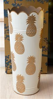 Sale 8703A - Lot 4 - A tole umbrella stand with scalloped edge decorated with pineapple design, H x 55cm