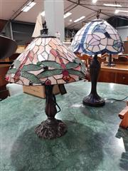 Sale 8760 - Lot 1030 - Two Leadlight Shade Table Lamps