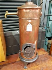 Sale 8782 - Lot 1029 - Vintage Le Precurseur Copper and Brass Hot Water Heater