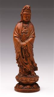 Sale 9078 - Lot 73 - A Carved Boxwood Figure of Guanyin