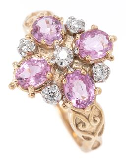 Sale 9164J - Lot 352 - A VICTORIAN INSPIRED PINK SAPPHIRE AND DIAMOND RING; quatreform setting of 4 oval cut pink sapphire between 5 round brilliant cut di...