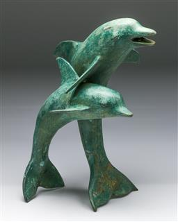 Sale 9175 - Lot 232 - A Large Brass Figural Group of Two Dolphins (H:46cm)