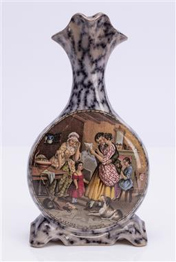Sale 9185E - Lot 111 - An unusual prattware ceramic bud vase marked a letter from the Diggings with family scene, and a farming scene on reverse, Height 19...