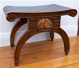 Sale 9191H - Lot 2 - An Indian leather top stool with hand-painted lacquered plaque, H 42 x W 56 x D 36 cm