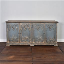 Sale 9245T - Lot 50 - A handcrafted four door sideboard made from premium reclaimed timber in weathered blue. Dimensions: H 91 x W 198 x D 45cm
