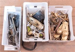 Sale 9248H - Lot 310 - Three small boxes of hardware to include door handles etc.