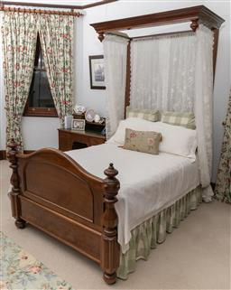 Sale 9260M - Lot 84 - An Antique timber framed bed with half tester, H 238cm L 213cm W 138cm, complete with mattress, bedding and drapery