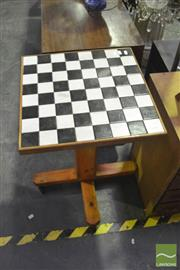 Sale 8307 - Lot 1073 - Timber Chess Table On Castors