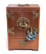 Sale 8439A - Lot 74 - A Chinese elm jewellery box opening to reveal four drawers and fabric lined interior, the case with brass characters and having lock...
