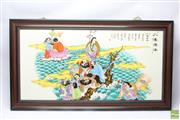 Sale 8648A - Lot 205 - Framed Chinese Story Board (90 x 50)