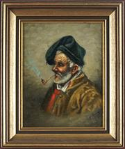 Sale 8850 - Lot 2021 - Artist Unknown - Man with Pipe 23.5 x 18.5cm