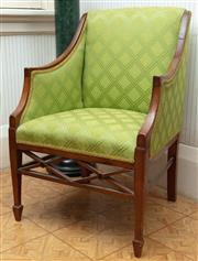 Sale 8881H - Lot 85 - A Regency style elbow chair with lime green upholstery, Height of back 80cm