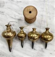 Sale 8951P - Lot 349 - Collection of 4 Solid Brass Plumb Bobs with Iron Tips (largest 10cm)