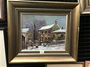 Sale 9033 - Lot 2007 - David  Winter Town Scene, oil on canvas, frame: 36 x 42 cm, signed lower right