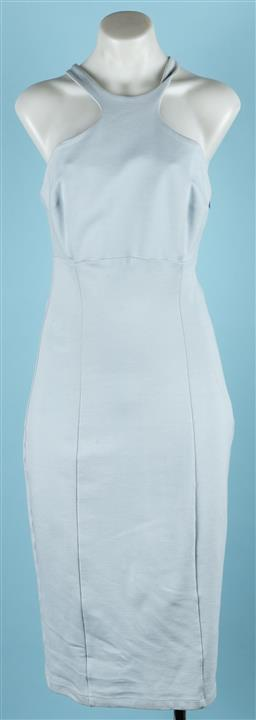 Sale 9092F - Lot 29 - A WHEELS & DOLL BABY; pale blue fitted dress with cross back. size 10