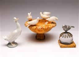 Sale 9104 - Lot 95 - A Stone Ornamental Bird Bath Together with A Paperweight and Nao Duck Figure