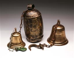 Sale 9110 - Lot 317 - Pair of brass bells and metal example