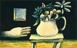 Sale 9150 - Lot 547 - CHARLES BLACKMAN (1928 - 2019) - Hand & Vase of Flowers 100 x 162.5 (frame: 112 x 177 x 3 cm)