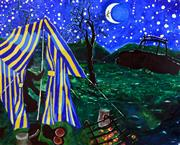 Sale 8374 - Lot 528 - Bernard Ollis (1951 - ) - Camping under the stars 2009 160 x 198cm