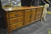 Sale 8380 - Lot 1002 - Faux Bamboo Six Drawer Sideboard with Painted Doors