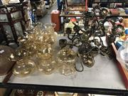 Sale 8702 - Lot 2456 - Pair of Five Arm Chandeliers with Tulip Form Shades