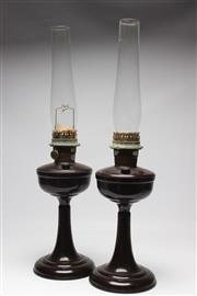 Sale 8739 - Lot 70 - A Pair of Bakelite Gas Lamps with Flumes ( H 70cm inc Flume)