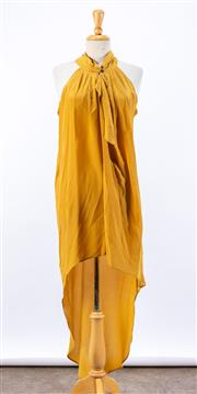 Sale 8891F - Lot 44 - A Manning Cartell mustard silk halterneck dress with an asymmetric hemline, size 8