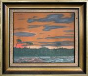 Sale 8998 - Lot 2056 - B. Apicella (2 works) Sunset over the Wetlands; Night Rowing At Sea 1973 acrylic on board, 35 x 40cm; 30 x 35cm (frames), each signed