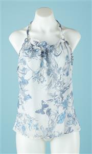 Sale 9027F - Lot 101 - A Carla Zampatti blue floral halter neck top in silk, size 10