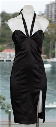 Sale 9044H - Lot 62 - A Wheels & Doll Baby black halter neck fitted satin dress, with high split to side, size 10