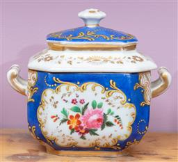 Sale 9120H - Lot 112 - A hand painted lidded sugar bowl, with floral scenes on blue ground, Width 13cm