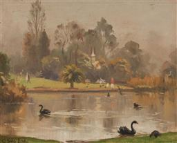 Sale 9125 - Lot 583 - Charles Sallis Lloyd (1902 - c1960) Pond in the Park oil on board 40.5 x 51 cm (frame: 56 x 66 x 6 cm) signed lower right