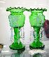 Sale 7346 - Lot 17 - A PAIR OF EMERALD GREEN GLASS LUSTRE VASES