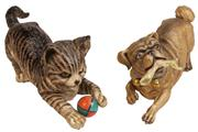 Sale 7978 - Lot 13 - Ernst Bohne & Sons Bisque Playful Cat & Dog Figures