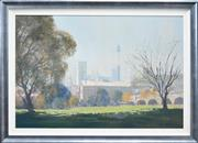 Sale 8173A - Lot 16 - Colleen M. Parker (1944 - 2008) - City Skyline From Wentworth Park 60 x 92cm