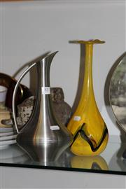Sale 8160 - Lot 81 - Yellow Art Glass Vase & Pewter Jug