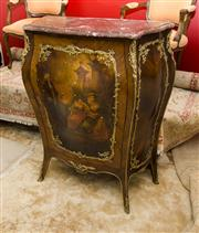 Sale 8205 - Lot 29 - A French style rosewood veneered bombe cabinet with ormolu mounts with red marble top, painted panel of C18th gentleman reading to t...