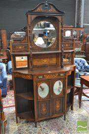 Sale 8282 - Lot 1006 - Late Victorian Inlaid Rosewood Parlour Cabinet, with mirrored back and shelf, above two mirror panel doors and further shelves