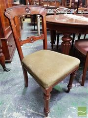 Sale 8485 - Lot 1048 - Victorian Carved Walnut Chair, with green velvet seat & turned legs