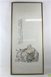 Sale 8563 - Lot 142 - Framed Scroll Depicting Houtai
