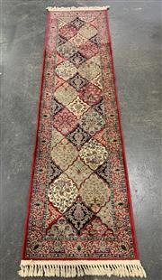 Sale 9043 - Lot 1057 - Turkish made Merinos Red, Blue and Cream Tone Runner (L300 x W80cm)