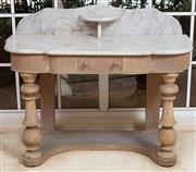 Sale 9071H - Lot 1 - A Victorian marble top wash stand, the blanched mahogany base with drawer and lower shelf, Height of back 88cm x Width 106cm x Depth...