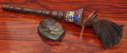 Sale 9108H - Lot 69 - A cloisonne brush handle Length 35cm together with a carved stone scarab beetle.