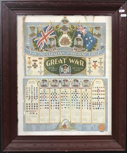 Sale 9106 - Lot 2090 - Framed Print Record of the Australian Imperial Force in the Great War
