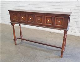 Sale 9137 - Lot 1050 - Timber 6 drawer hall table (h81 x w121 x d31cm)