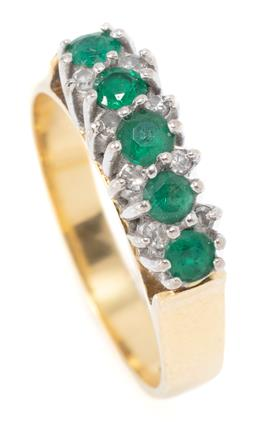 Sale 9160 - Lot 342 - A VINTAGE 18CT GOLD EMERALD AND DIAMOND RING; pillar claw set in line with 5 round cut emeralds totalling approx. 0.50ct between bor...