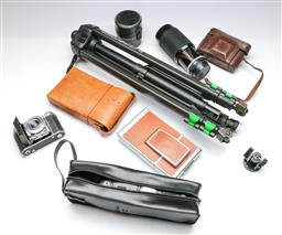 Sale 9164 - Lot 397 - Collection of camera parts inc Nikon together with a West German tripod