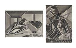 Sale 9170A - Lot 5064 - FAY WILLS (2 works) Mining the Fossil Fuel , 1985 & 1988 pencil 33.5 x 23.5 cm; 20 x 29 cm signed lower left, each