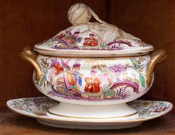 Sale 9190W - Lot 81 - A quality Davenport/Longport porcelain lidded tureen in the Chinoiserie manner from the Howard Collection with underplate. Bearing t...